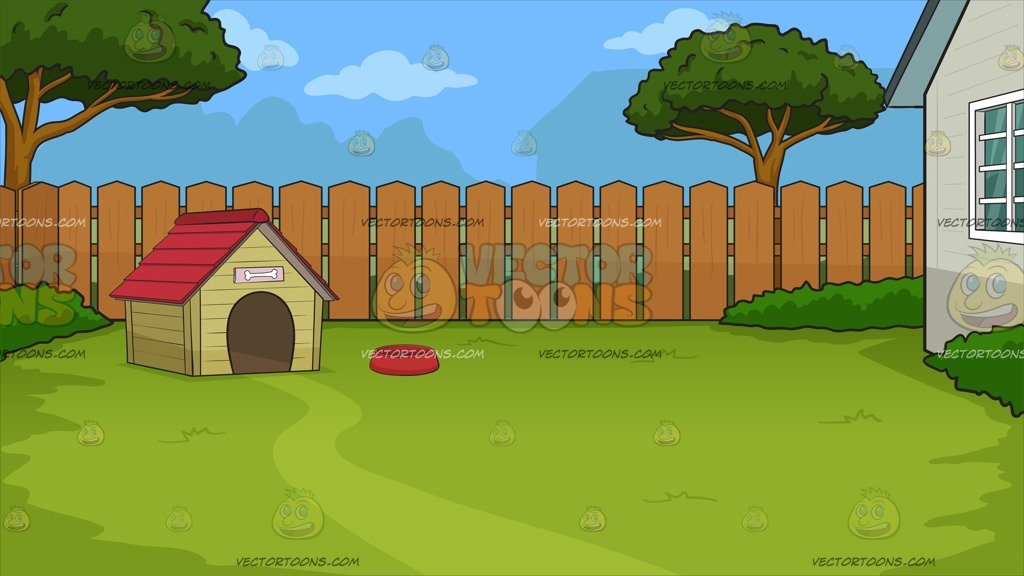 Houses clipart backyard. A dog house in