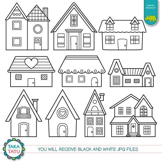 Houses Clipart Black And White Houses Black And White