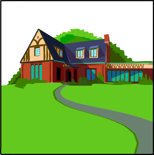 House with blue roof. Houses clipart driveway