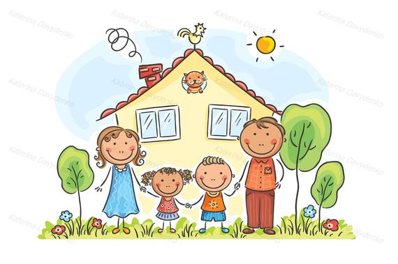 With two children near. Houses clipart family