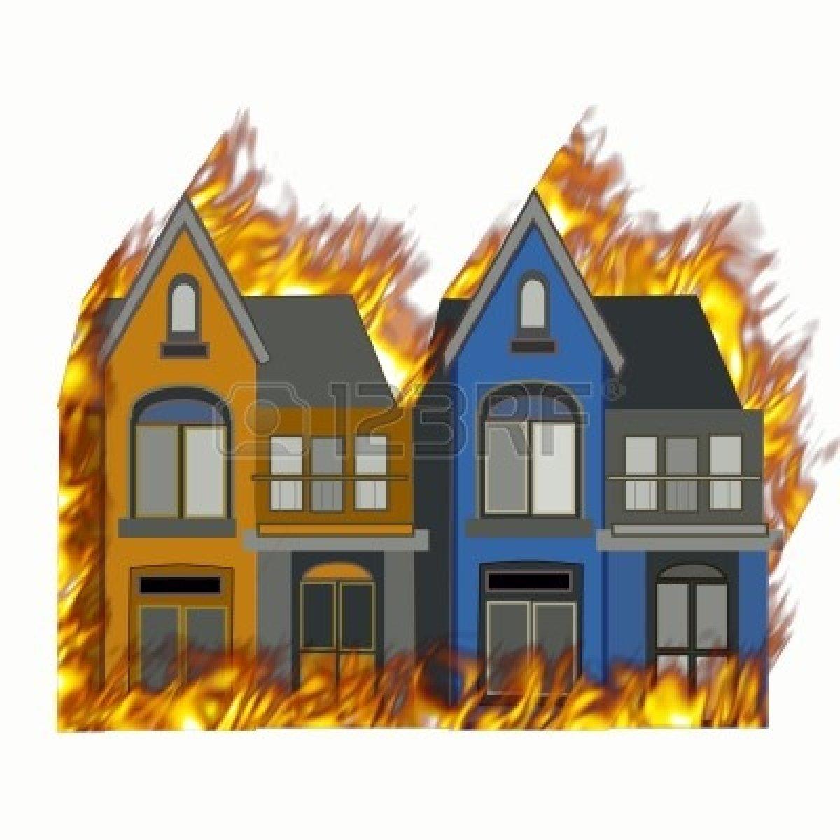 Free burning house cartoon. Houses clipart fire
