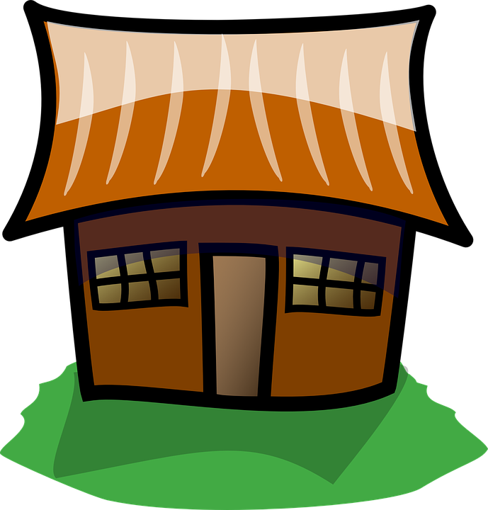 Houses clipart flat. Cartoon shop of library