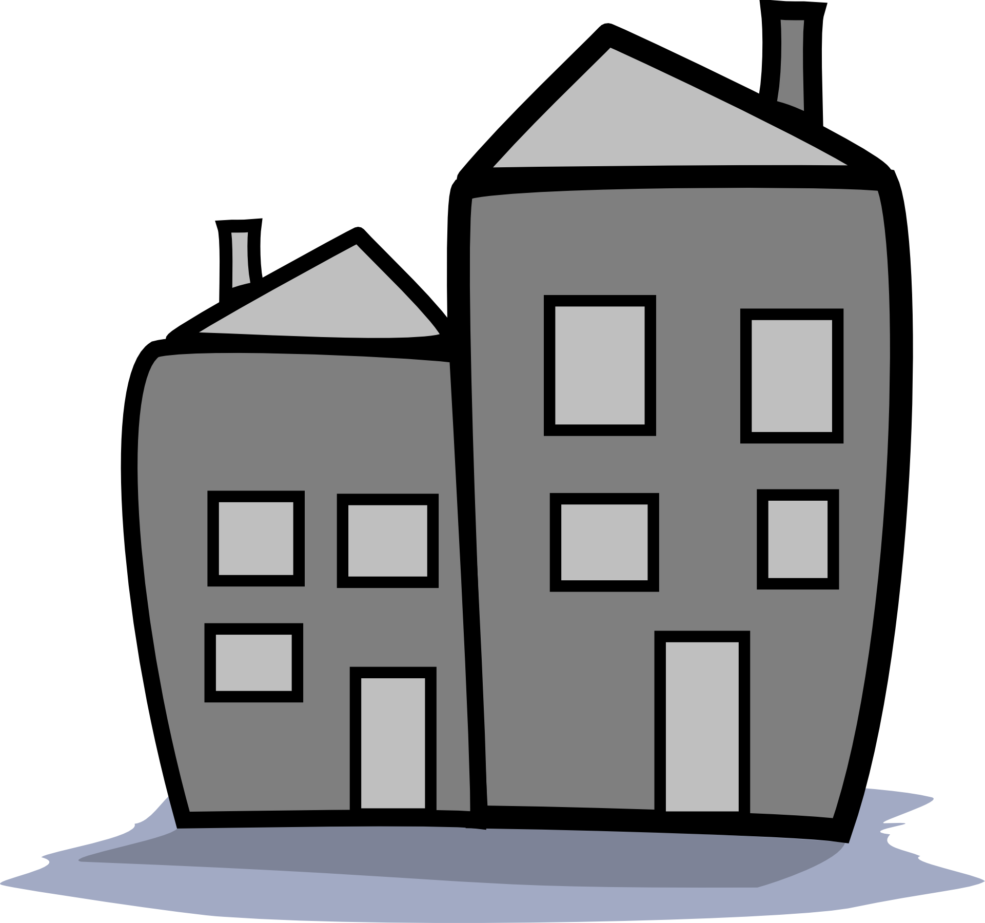 Two free image . Houses clipart grey
