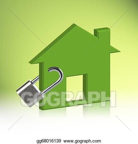 Houses clipart locked. Stock illustration green house