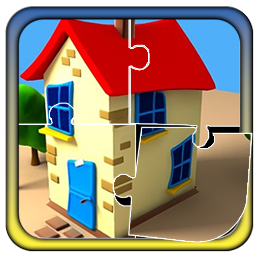 Houses clipart puzzle. Kids cartoon house product