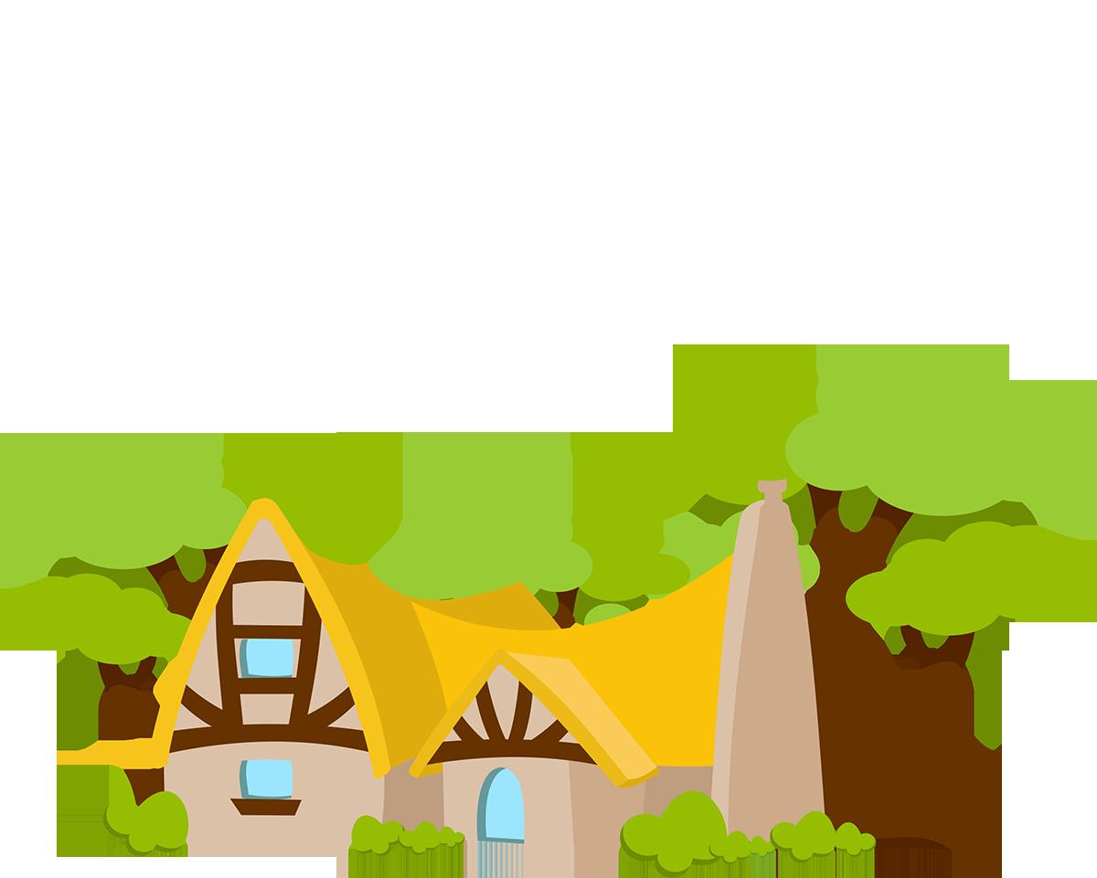 Houses clipart seven dwarfs. Snow white animation woods