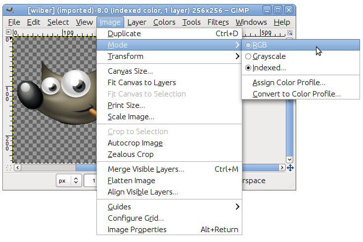 How to save gimp files as png.  change the mode