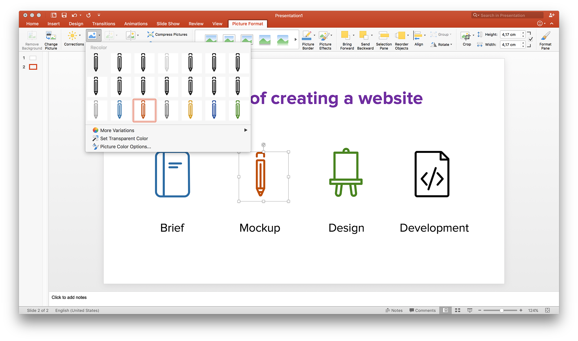 Using icons in powerpoint. How to turn a png into a vector
