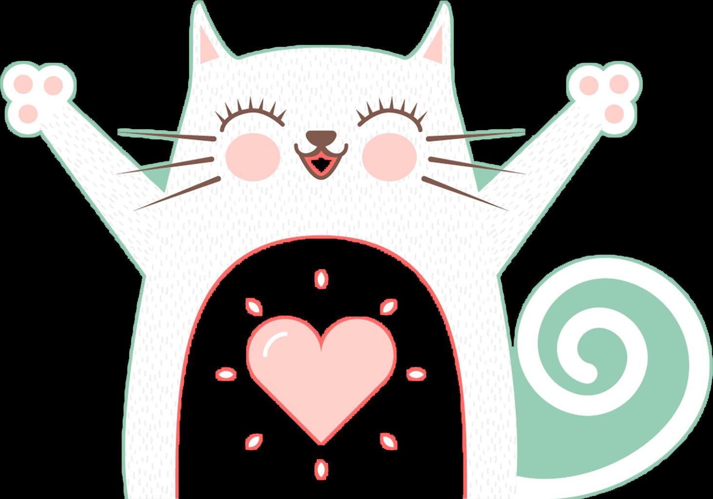 Cute love animal simple. Hug clipart cat
