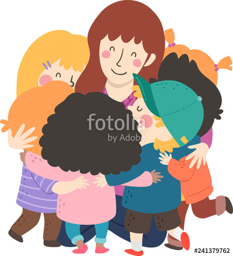 Hug clipart child hug. Kids teacher group illustration