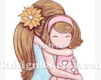 Hugging clipart mama. Mom and daughter art