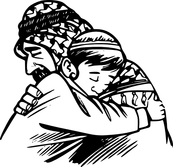 Father clip art free. Son clipart hug daddy