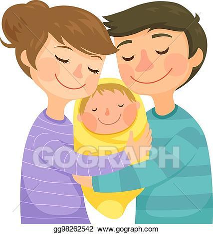 Hug clipart hug baby. Vector illustration parents hugging