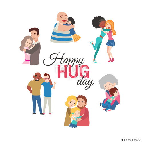 Hug clipart hug day. Happy background with vector