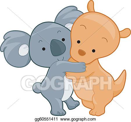 Koala clipart koala hug. Vector stock and kangaroo