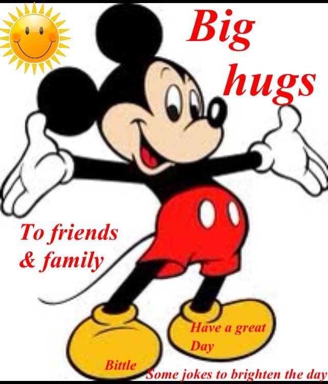 Big hugs from greetings. Hug clipart mickey mouse