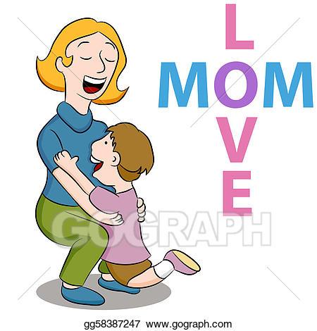 Vector art mom love. Hug clipart nurturing