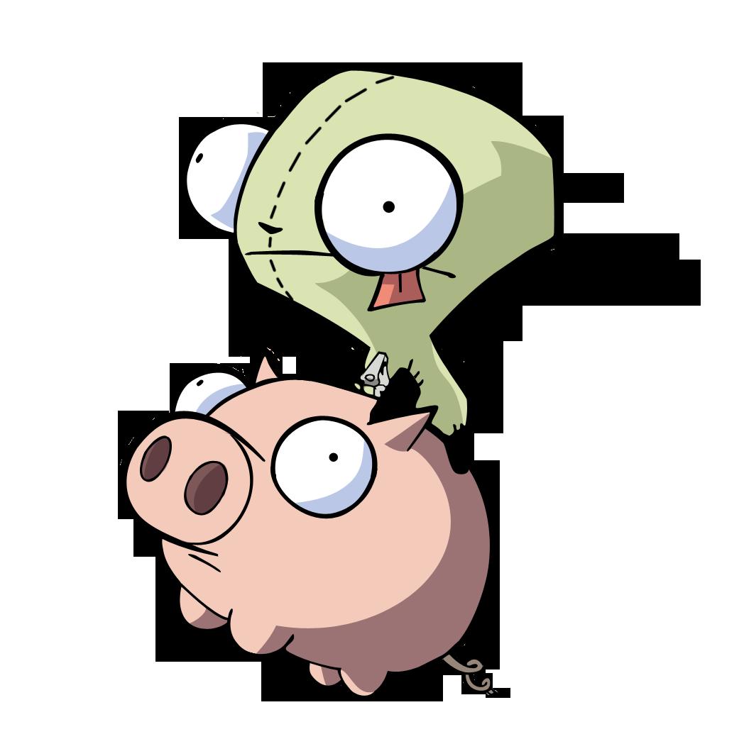 D gir pig invader. Pigs clipart tired