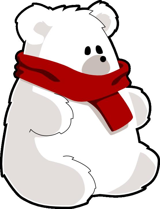 With red scarf teddy. Hug clipart polar bear