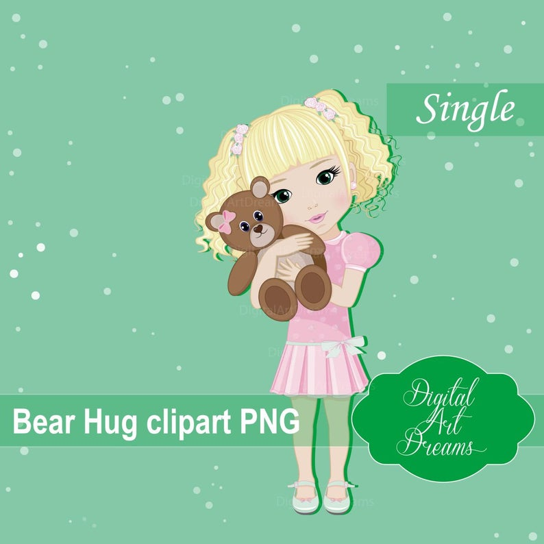 Hug clipart printable. Bear cute little girl