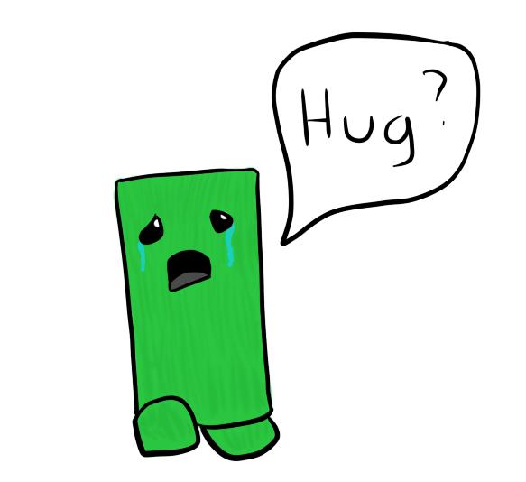 The creeper omo by. Hug clipart sad