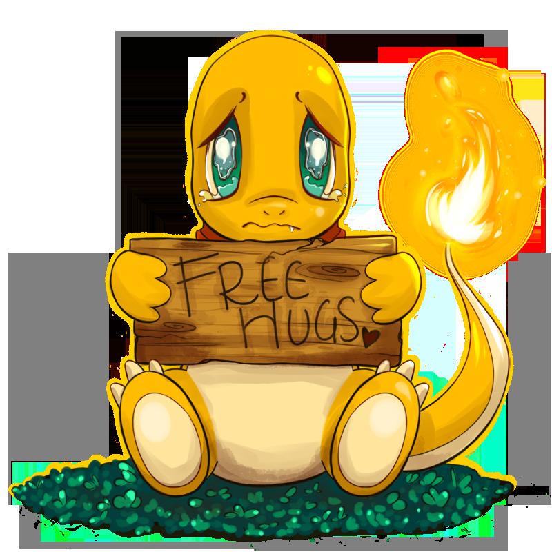 Charmander free hugs commission. Hug clipart sad