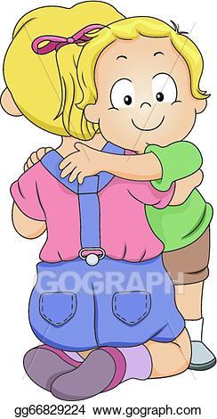 Eps vector sibling stock. Hug clipart share