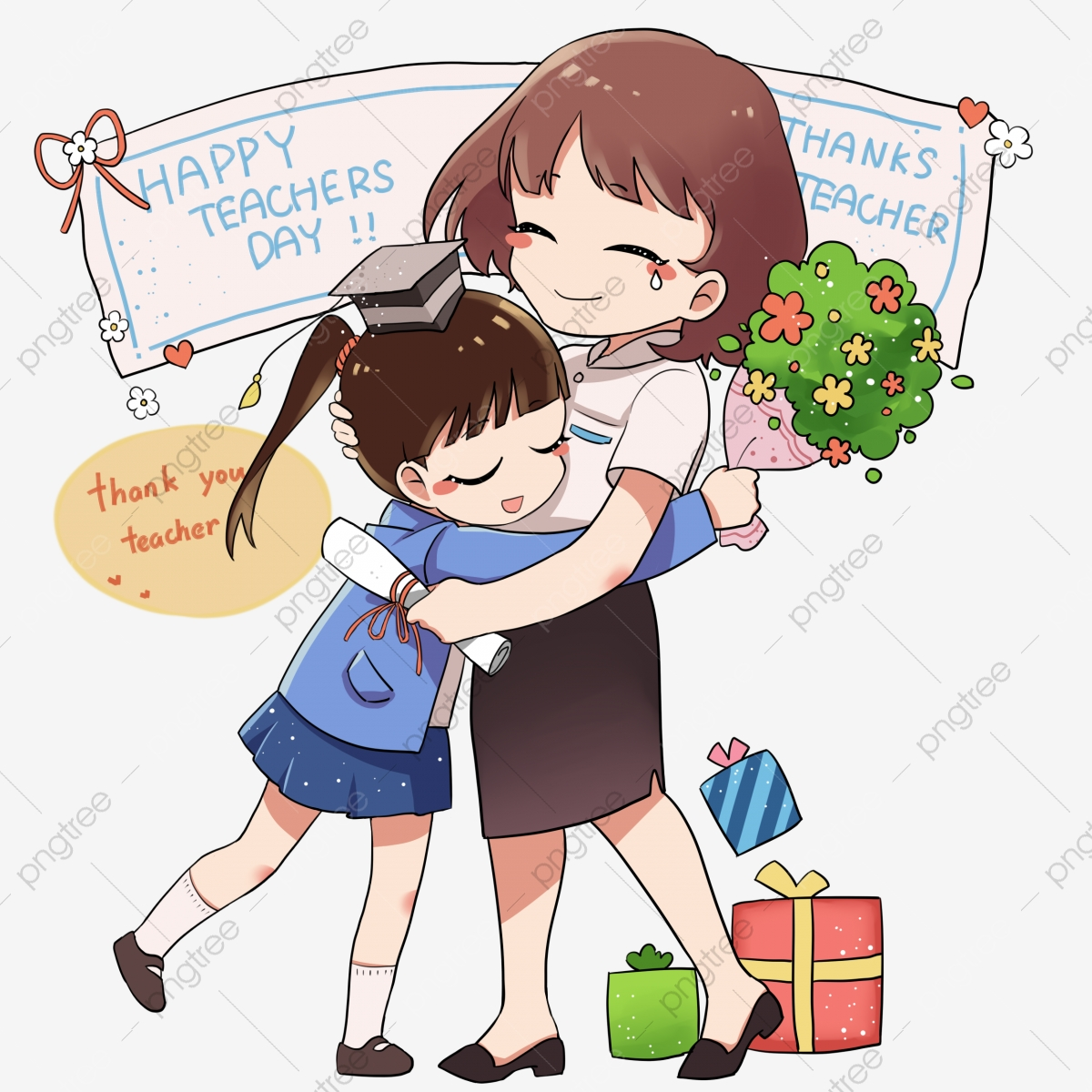 Hugging clipart work. Cartoon character hug teacher