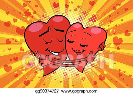 Vector art couple love. Valentine clipart hug