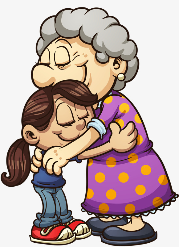 Grandmother and granddaughter elder. Hugging clipart
