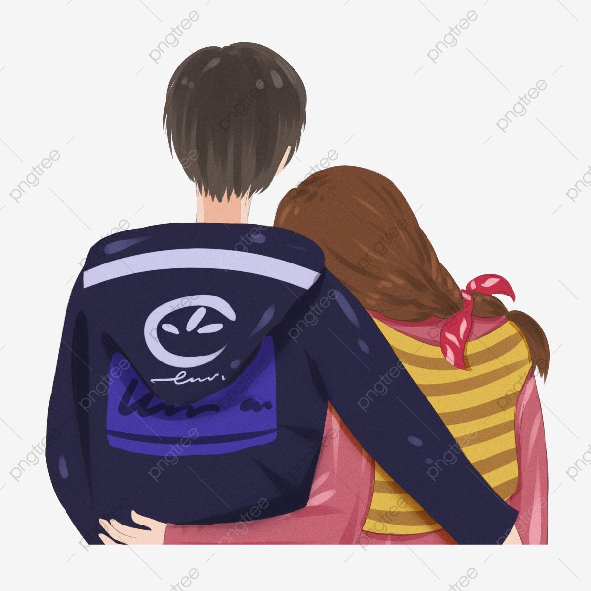 Cartoon hand drawn hugs. Hugging clipart back hug