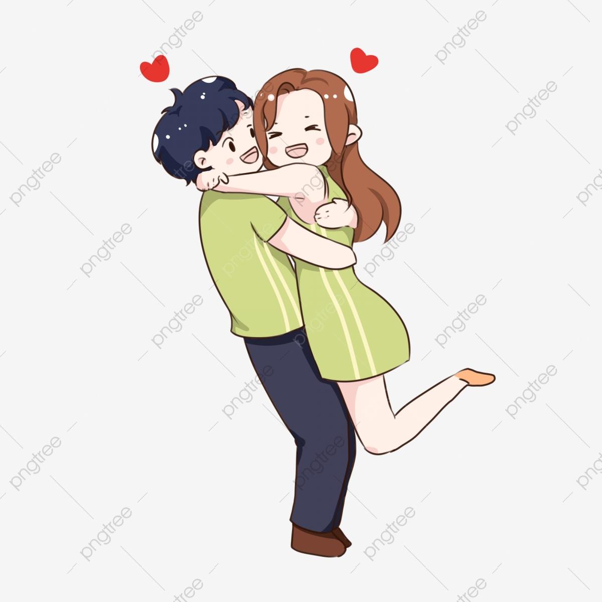 Hand drawn cartoon green. Hugging clipart hug day