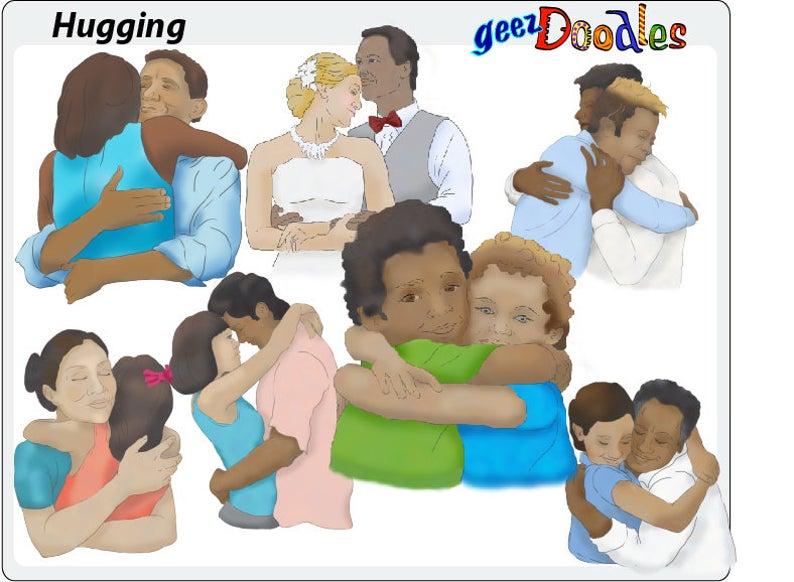 People hugs collage sheet. Hugging clipart hug hand