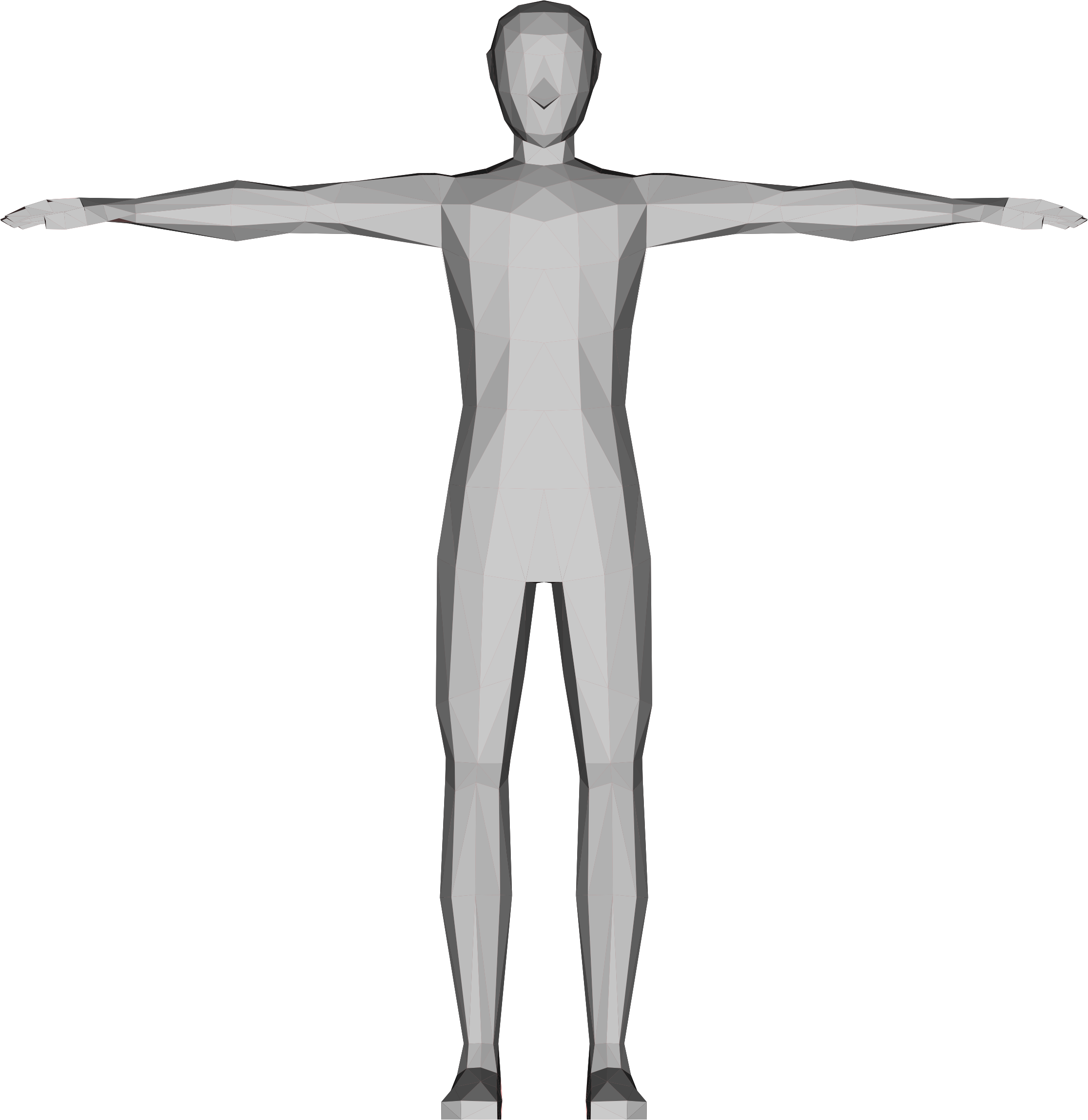 Low poly male big. Human clipart 3d human