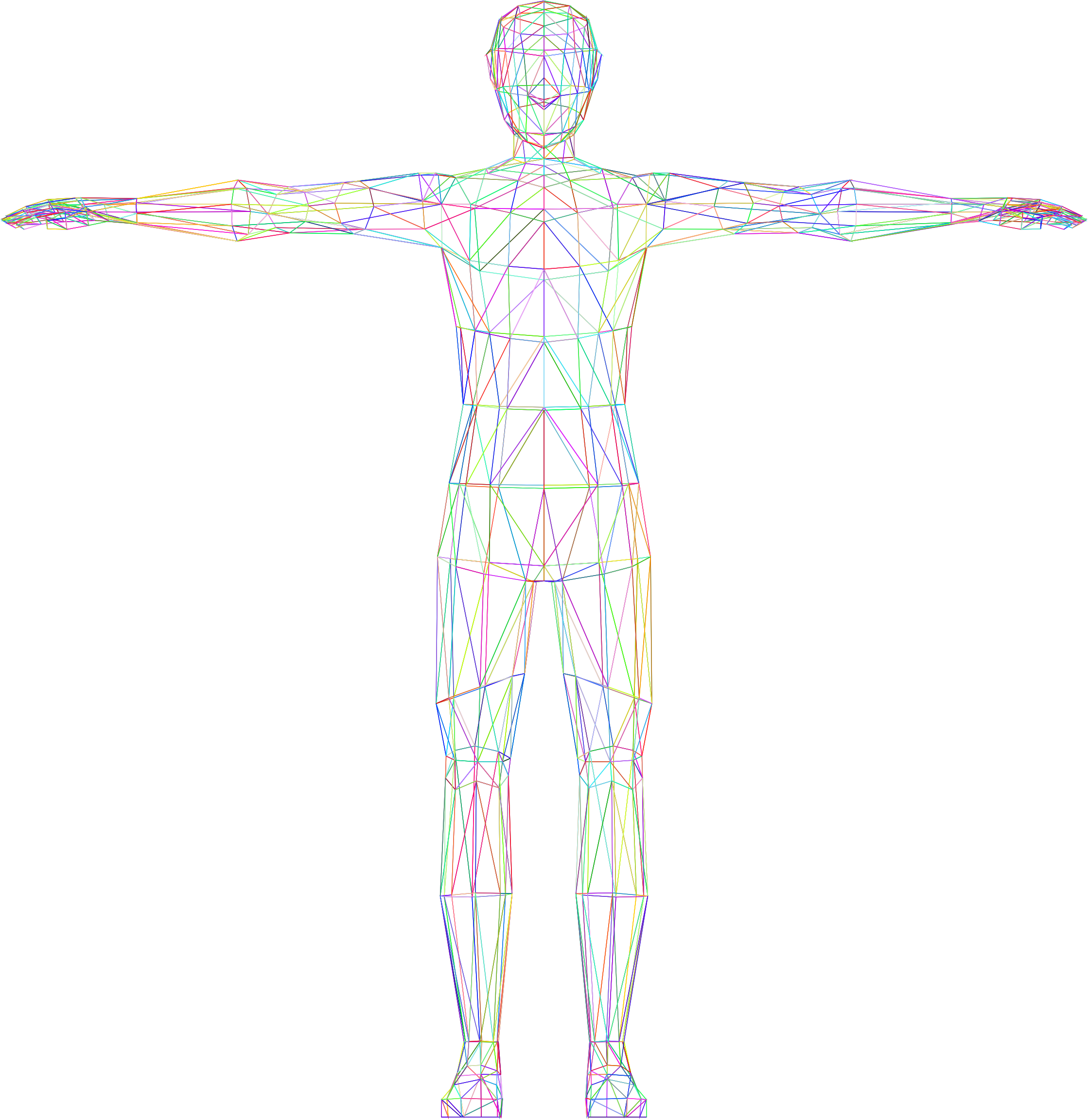 Prismatic low poly male. Human clipart 3d human