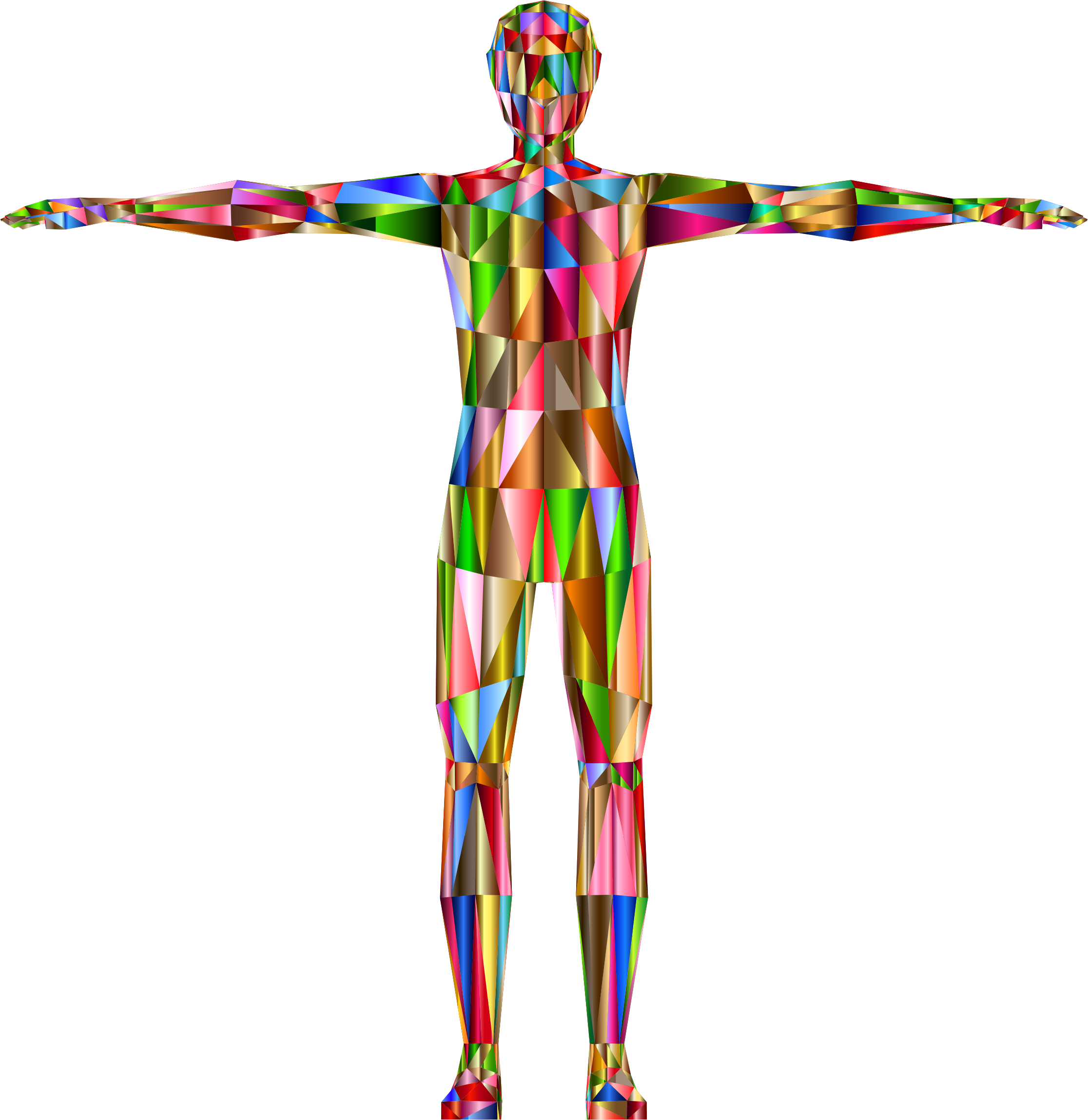 Prismatic low poly male. Human clipart anatomical body