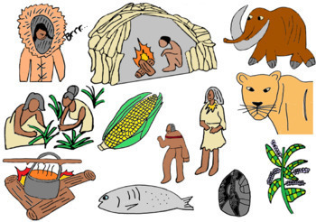 Humans and stone age. Human clipart early human
