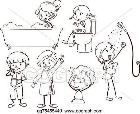 Vector illustration kids eps. Humans clipart grooming