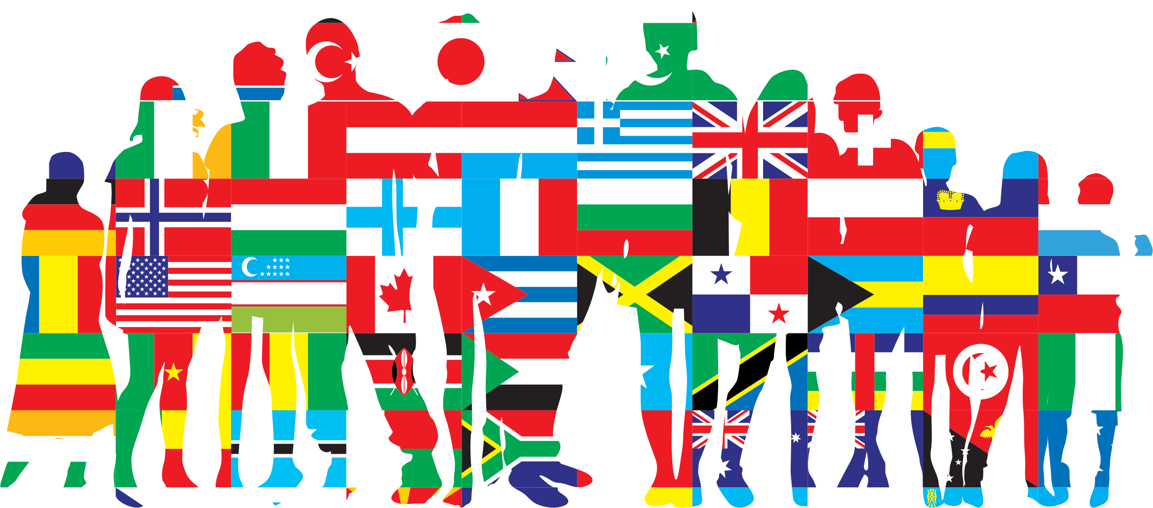 International no stroke icons. Human clipart human family