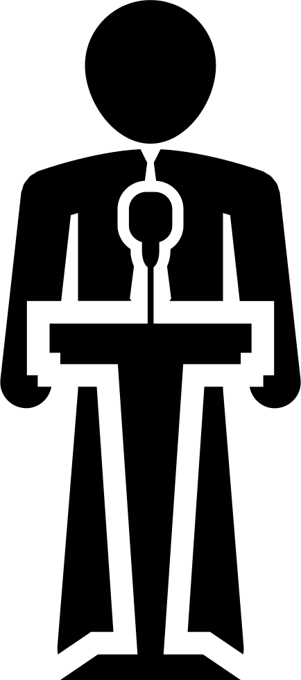 Human clipart human icon. Speaking on a stand