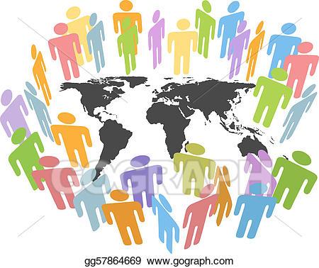 Vector illustration global earth. Human clipart human population