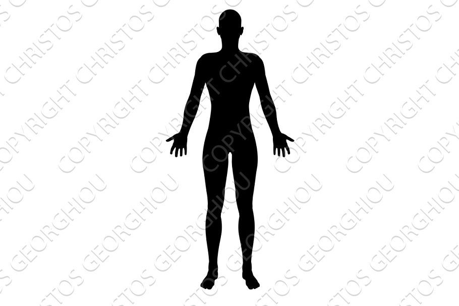 Stylised unisex figure silhouette. Human clipart human standing