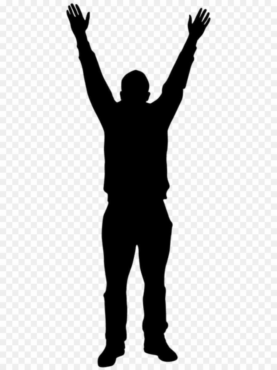Silhouette hands up png. Human clipart human standing