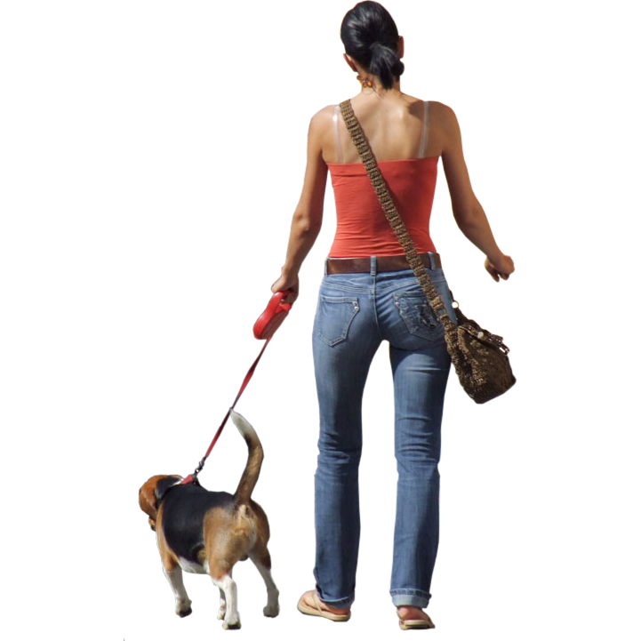 Walking dog silhouette at. Human clipart lady figure