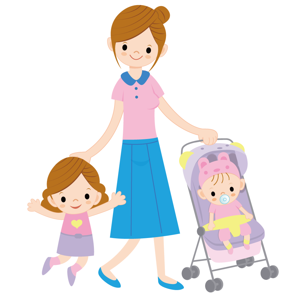 Mother clipart child free. Cartoon illustration with children