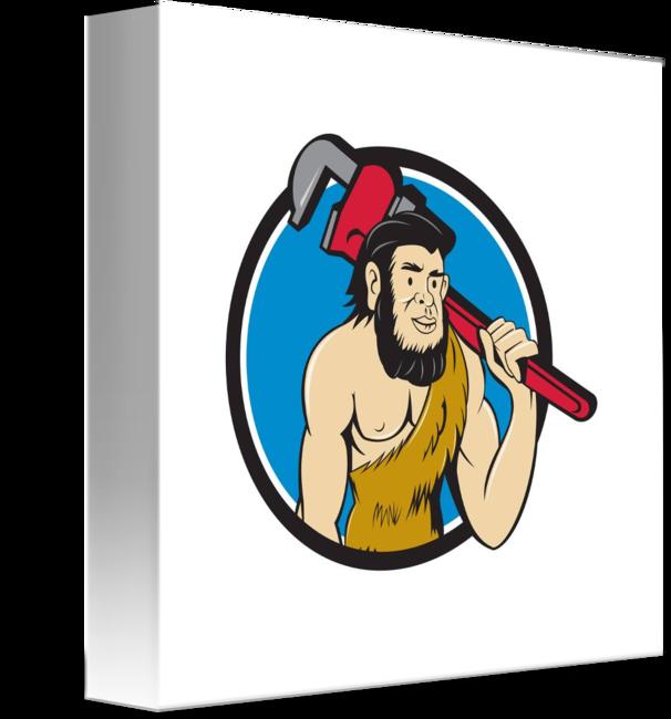 Caveman plumber monkey wrench. Humans clipart neanderthal man