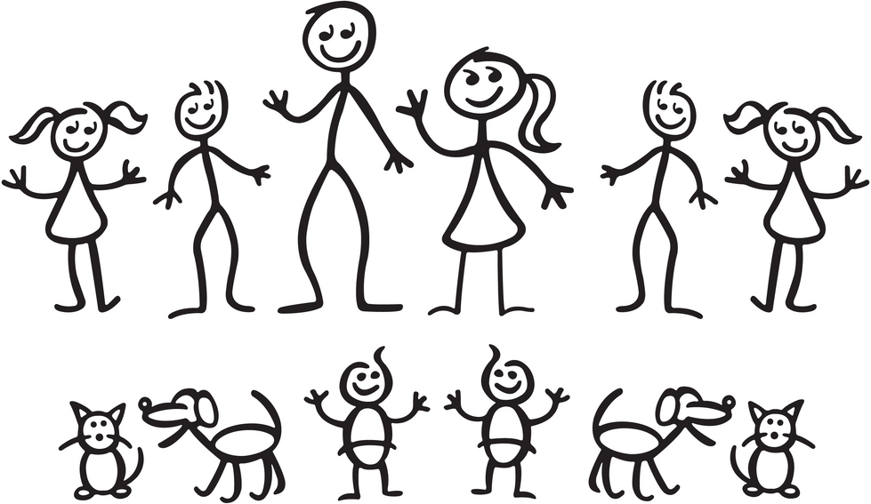 Free family of cliparts. Humans clipart 7 person