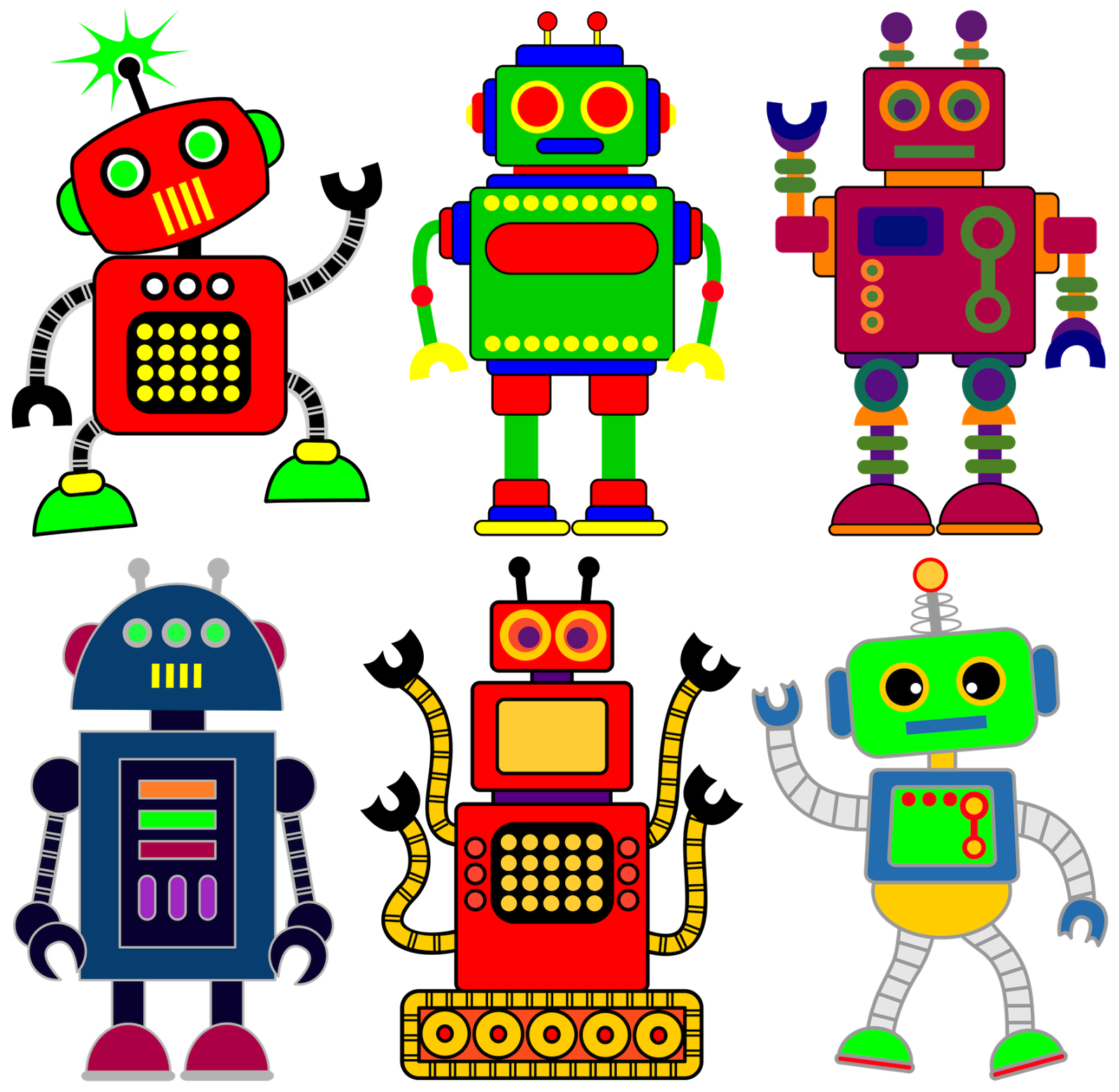 Retro robots vectors robot. Humans clipart creative