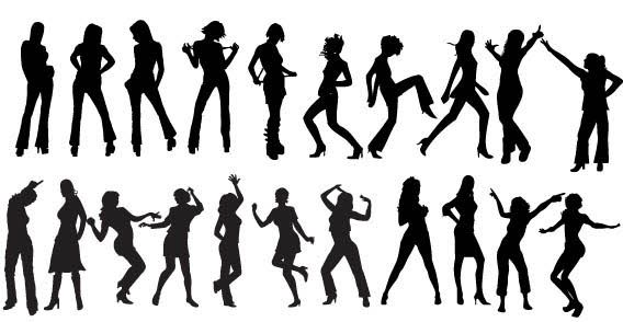Humans clipart dancing. Free vector dancers silhouettes