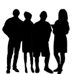 Silhouettes of people human. Humans clipart few person